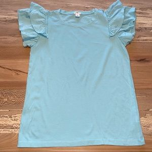 Crewcuts Girls Ruffle Sleeve T-Shirt in Light Blue
